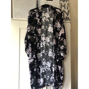 Black floral kimono! Ties!